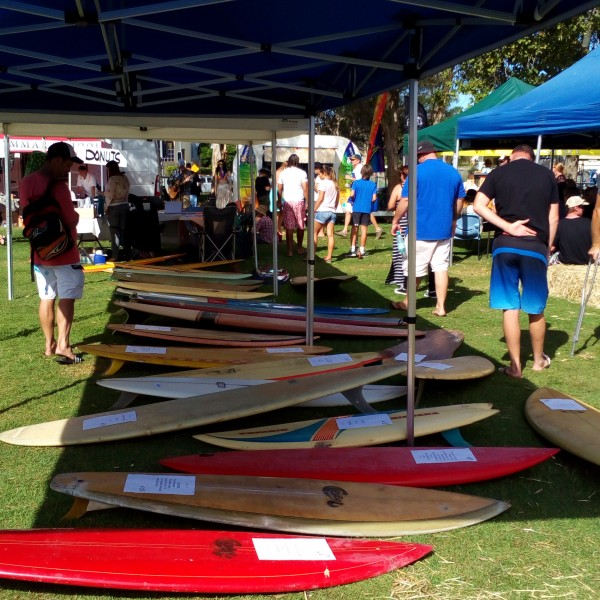 Surf boards on display