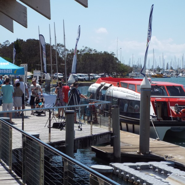 Tenders deliver passengers to Mooloolaba Wharf